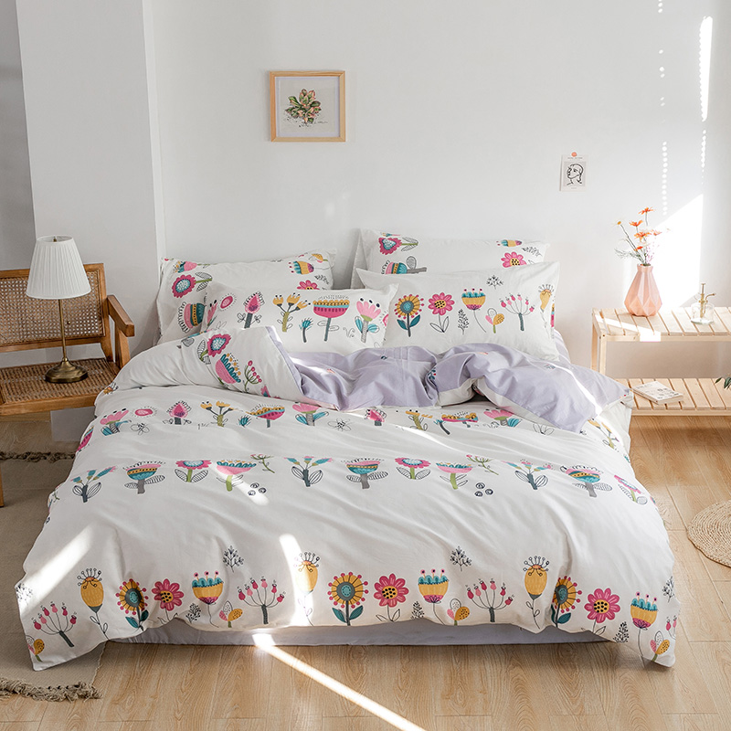 100%Cotton Floral print Easy Care Soft Duvet Cover Bed sheet Pillowcases Twin Queen King size Bedding Set for Kids Girls Adults