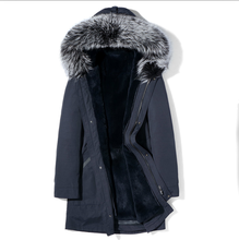Boollili Parka Real Fur Coat Men Winter Jacket Silver Fox Fur Collar Rabbit Fur Liner Long Warm Parkas Veste(China)