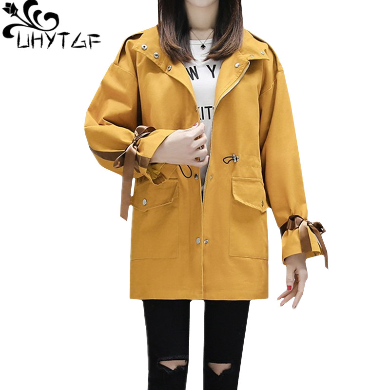 UHYTGF Casual spring autumn windbreaker female Mid-length lace-up women fashion   trench   coat for women plus size top outerwear847