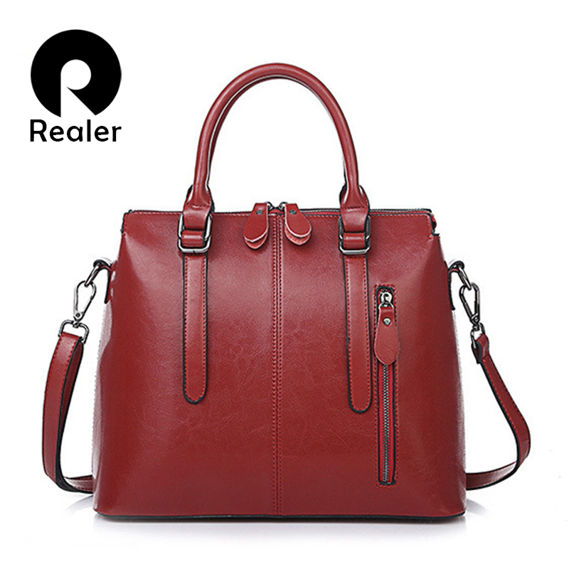 REALER Women Handbags Fashion Retro Leisure Tote Bags Designer Female Leather Shoulder Bag Ladies Crossbody Bag With Top-handle
