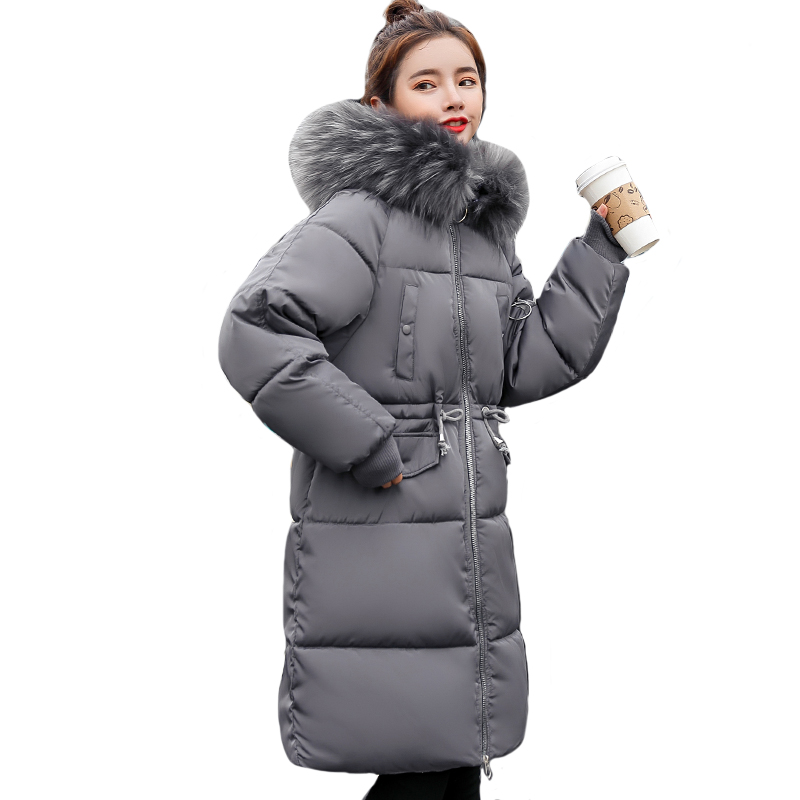 2019 High Quality Female Coat Coats Warm Thicken Women Winter Long   Parka   Womens Jackets Hooded with Fur Cotton Padded Outwear