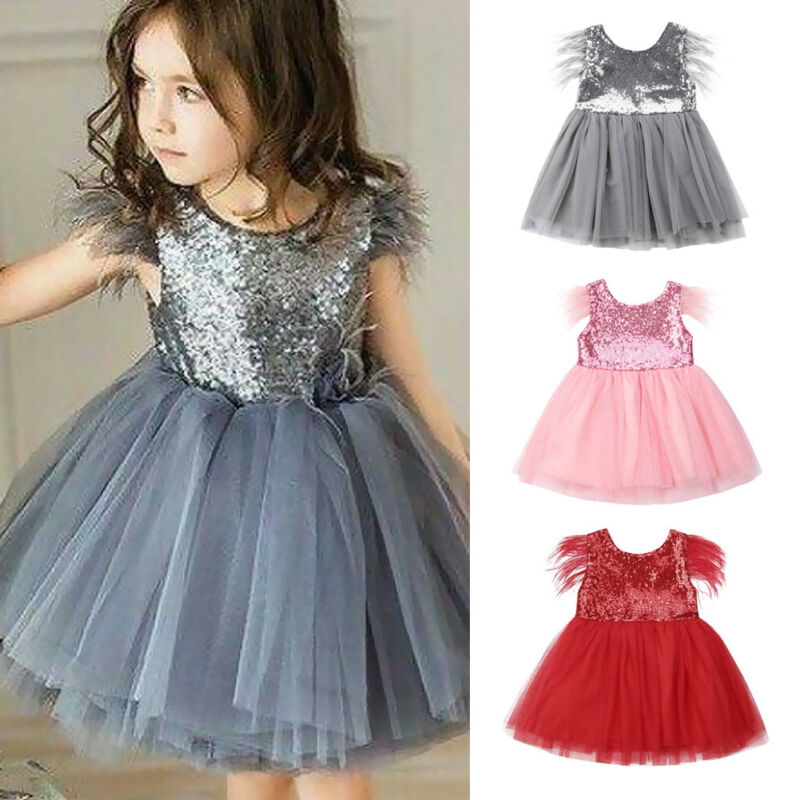US Toddler Kid Baby Girl Lace Tulle Party Pageant Bridesmaid Formal Tutu Dress