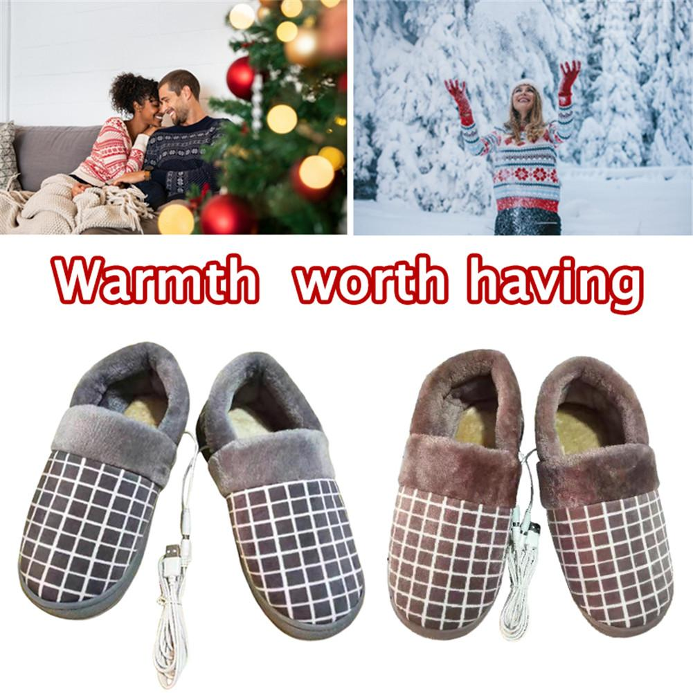 Heating Slippers Shoes Cotton USB Rechageable Warm Shoes Comfortable Plush Slippers For Cold Winter