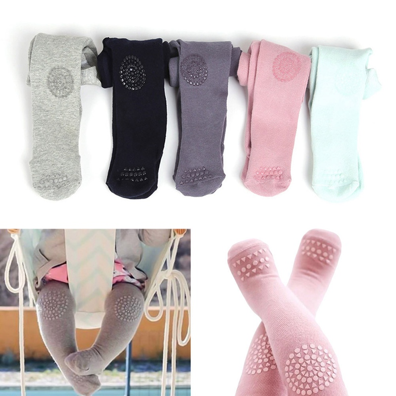 Baby Girls Boys Pure Cotton Anti-Slip Tights Toddler Kids Solid Color Knitting Tights Children Knitted Stocking For 0-24 Months