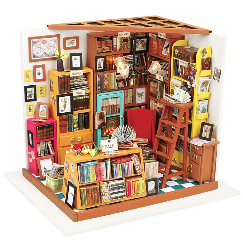 Home Decor Figurine Diy Sam Study Room Wood Miniature Model Kits Decoration Dollhouse Christmas Gift For Kids