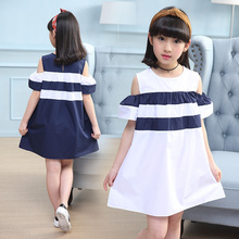 Feiluo 2019 New Summer Dress Toddler Kids Baby Girls Lovely Birthday Clothes white blue Ruffles off shoulder Dresses DX03042