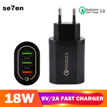 Universal 18 W USB Quick charge 3.0 5V 3A for Iphone 7 8 EU US Plug Mobile Phone Fast charger charging for Samsug s8 s9 Huawei 3 usb quick charge 3 0 5v 3a eu us for iphone 7 8 eu us plug mobile phone fast charger charging for samsug s8 s9 xiaomi note 7