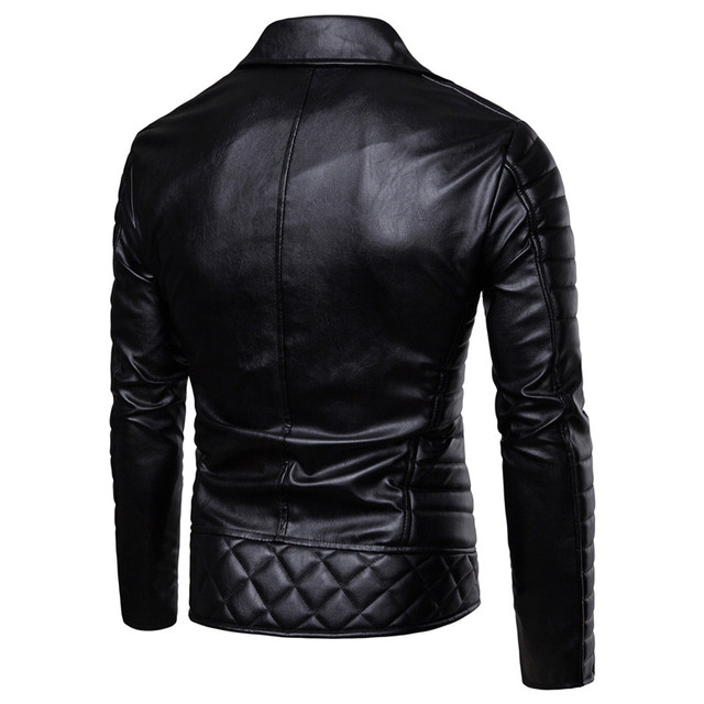 LeatherMen 2018 Fall/winter New Men's Leather Fashion Cotton Windproof Motorcycle Leather Jacket Jacket Men's Leather Motorcycle