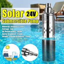 Bomba de agua Solar de 40m, 12V/24V, 180W/300W, bomba de pozo profundo de alta elevación, sumergible de tornillo CC, riego agrícola, jardín y hogar