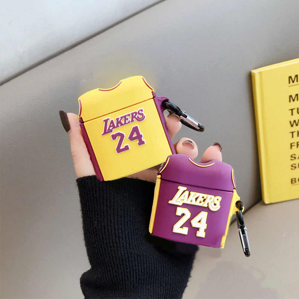 Laker No. 24 Jersey Case For AirPods 2 1 Silicone Wireless Bluetooth Earphone Headphones Cases For Airpods Protective Cover