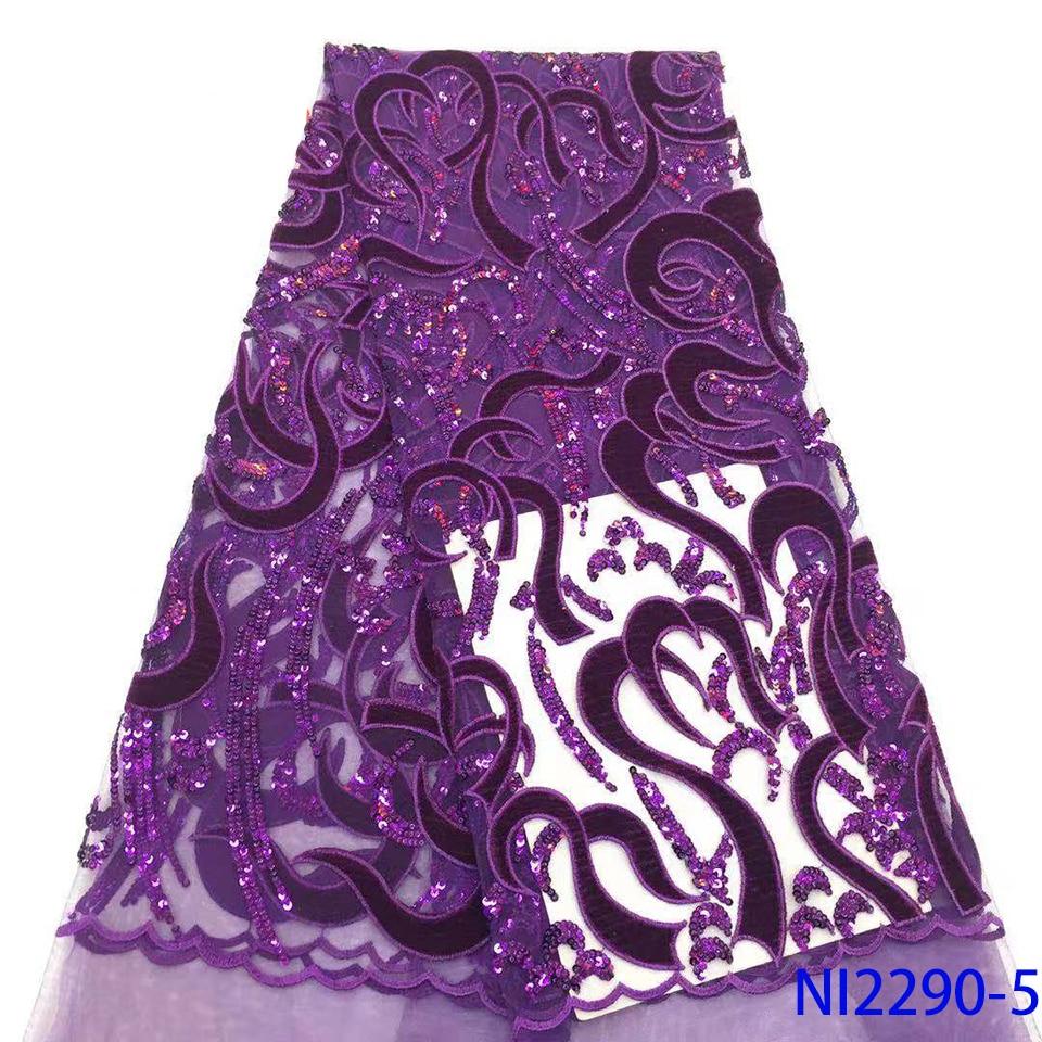 Dentelle française tissu 5yds/Pc violet velours maille paillettes tissus femmes magnifique luxe exclusif robe lumineuse 2019 nouveau Aseobi