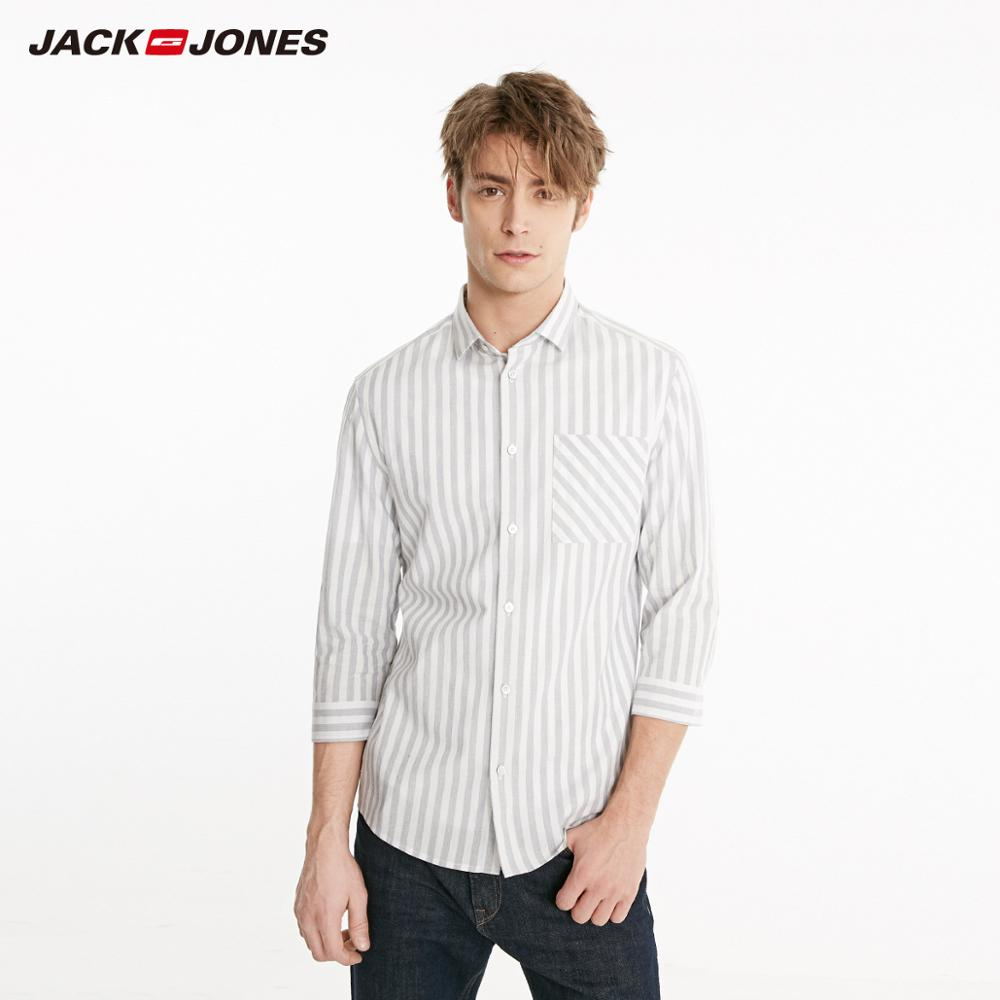 JackJones Men's 100% Cotton Striped 3/4 Sleeves Style Shirt| 219131510