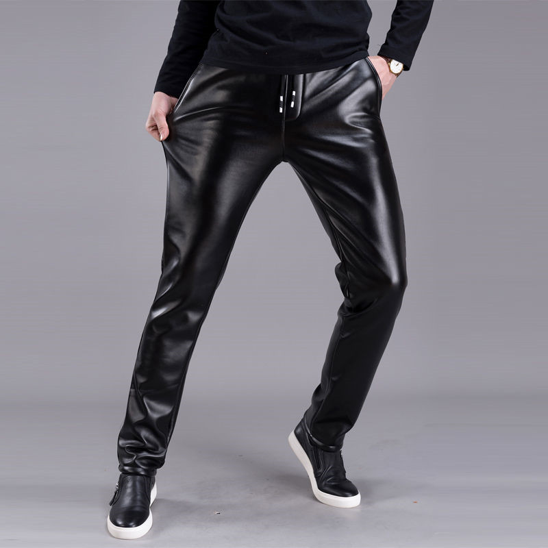 Spring Summer Men Leather Pants Elastic High Waist Lightweight Casual PU Leather Trousers Thin Causal Trousers 5