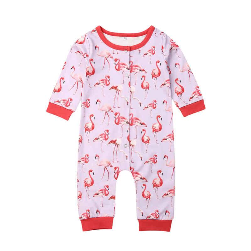 2019 ורוד פלמינגו Romper פעוט ילדי תינוק בנות בני בגדי פלמינגו Romper ארוך שרוול סרבל סתיו פיג 'מה 0-24M