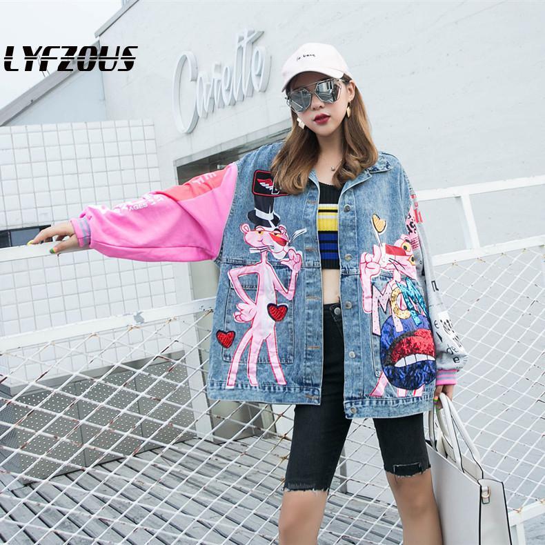 New Fashion Sequins Denim Jacket Women Cartoon Printing Loose Jeans Jackets Lady Streetwear Coats Free Shipping