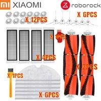 Ev Aletleri'ten Elektrikli Süpürge parçaları'de Uygun Xiaomi robotlu süpürge roborock Yedek Parça Kitleri Yan Fırçalar HEPA Filtre Rulo fırça değiştirme