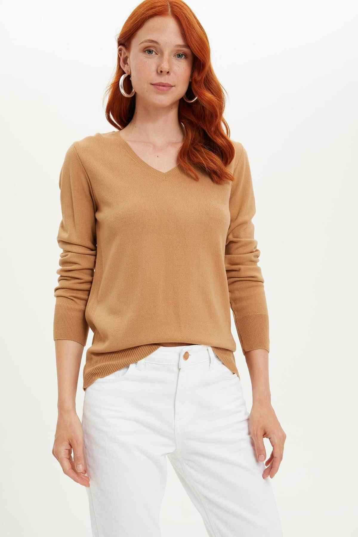 DeFacto Autumn Women Pure Color Soft Pullover Nude Red Casual Slim Knitted Sweater V-Neck Female Tops Long Sleeve-F7088AZ19AU