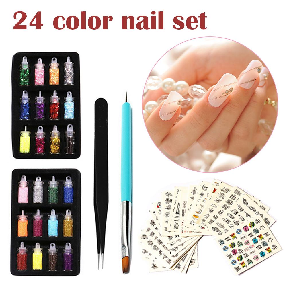 Nail Sequins Colorful Glitter Powder Sticker Manicure Nail Art Decals With Tweezers For Women Nail Tools Beauty Makeup