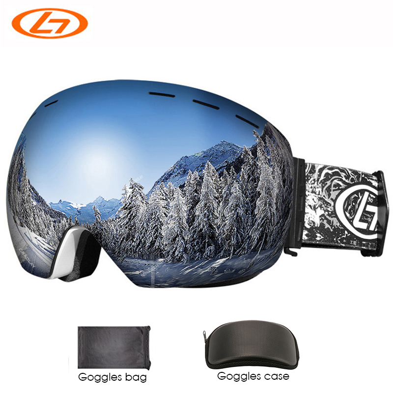 Snowboard & Ski Goggles With Box Case Bag Spherical Design Frameless UV Protection For Men Women Youth Helmet Compatible