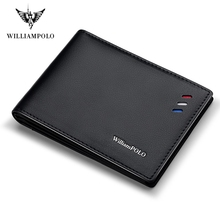 WILLIAMPOLO Purse For Men Genuine Leather Mens Wallets Thin Male Wallet  Card Holder Cowskin Soft Mini Purse PL315