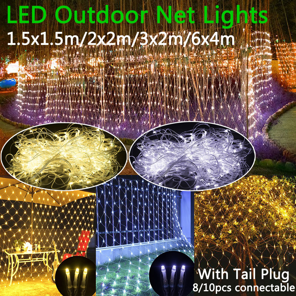 Led Net Lights 220V Wedding Christmas Fairy String Light Outdoor Waterproof Party Holiday Decor Mesh Lights With Tail Plug D25
