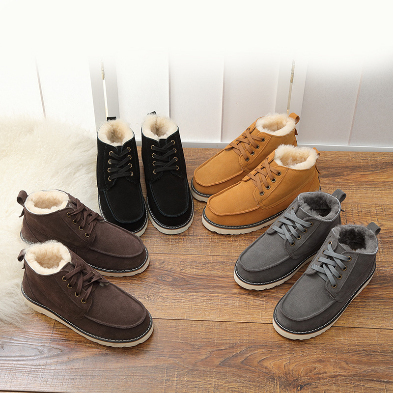 Image 3 - UVWP New Fashion Warm Natural Fur Snow Boots Men Genuine Leather 