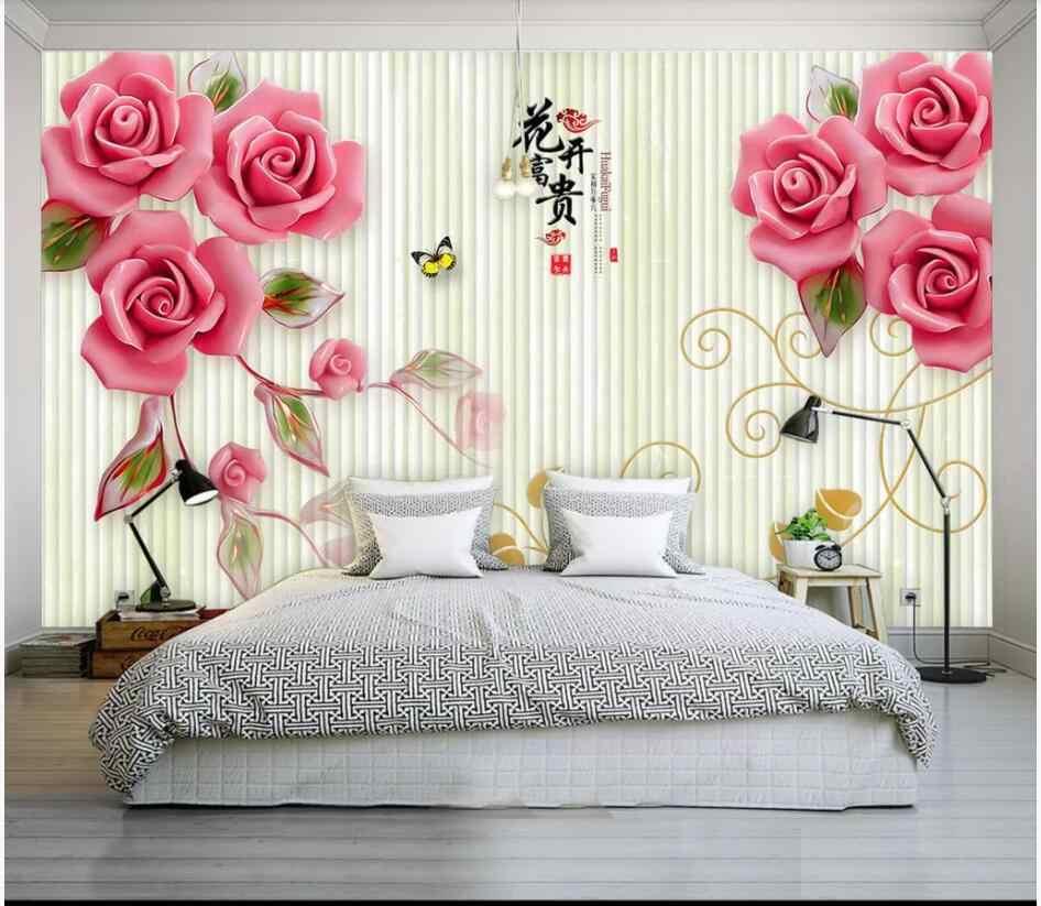 Wdbh Personalizado Foto Mural 3d Papel Pintado Floreado Flor Rosa
