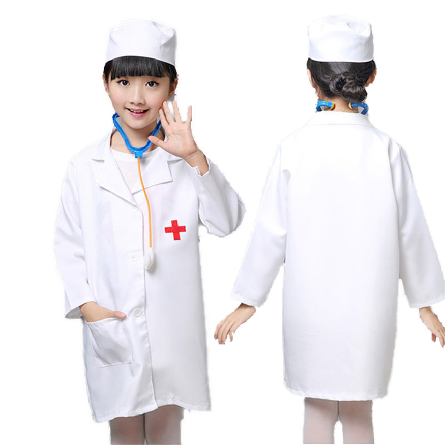 Nurse Cosplay Costumes For Girls Doctor Nurse Hospital Uniform Jackets Halloween Family Party Play Games Kids Clothing With Hat