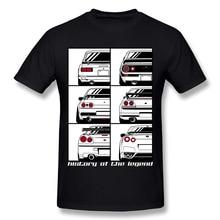 Novelty Men Skyline Graphic Print T-Shirt O-neck Leisure Cotton GTR Car T Shirts v neck graphic print henley t shirt