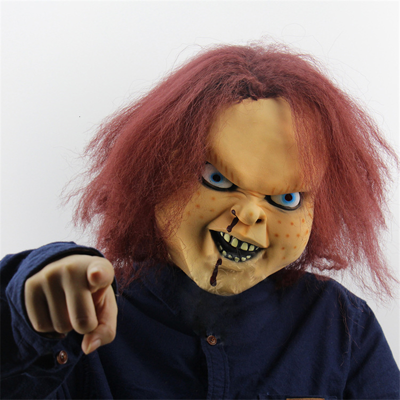 Child's Play Cosplay Charles Lee Ray Costume Chucky Andy Barclay Buddi Doll Halloween Horror Mask Scary Crazy Rubber Masquerade