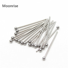 100Pcs/Lot 304 Stainless Steel Ball Head Pins Findings Jewelry Making 0.7mm 20 30 40 50mm