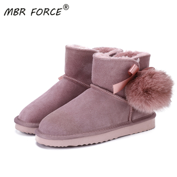 MBR FORCE Australia Women Snow Boots 100% Genuine Cowhide Leather Ankle Warm Winter Woman shoes large size 34-43