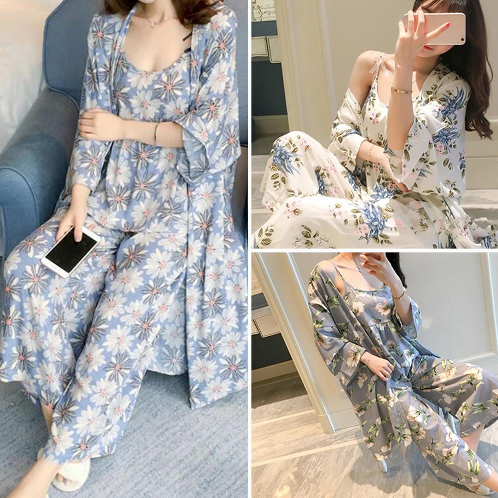 3 Pieces Sleepwear Lounge Set Women Floral Print Long Sleeve Cardigan Vest Long Pants Sleepwear Set Robe Soft, Skin-friendly