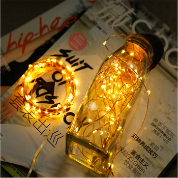 Battery Bedroom light 1M Copper Wire LED String lights Party Decoration lighting Fairy Garland For Party Christmas Tree Wedding image