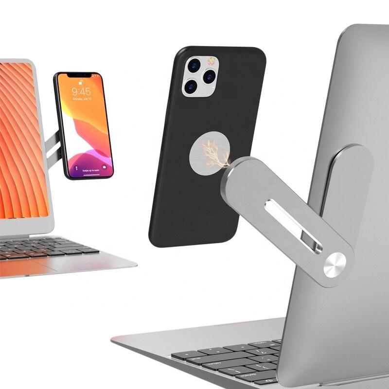 Магнитная сторона ноутбука удлинитель мобильный телефон держатель ноутбук сотовый телефон стенд поддержка для Iphone 12 11, Samsung, Xiaomi, Huawei