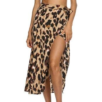 Sprint Sexy Leopard Print Women Long Skirt Summer Beach Wrap Split High Waist Bodycon Loose Chiffon Skirts Plus Size Clothing