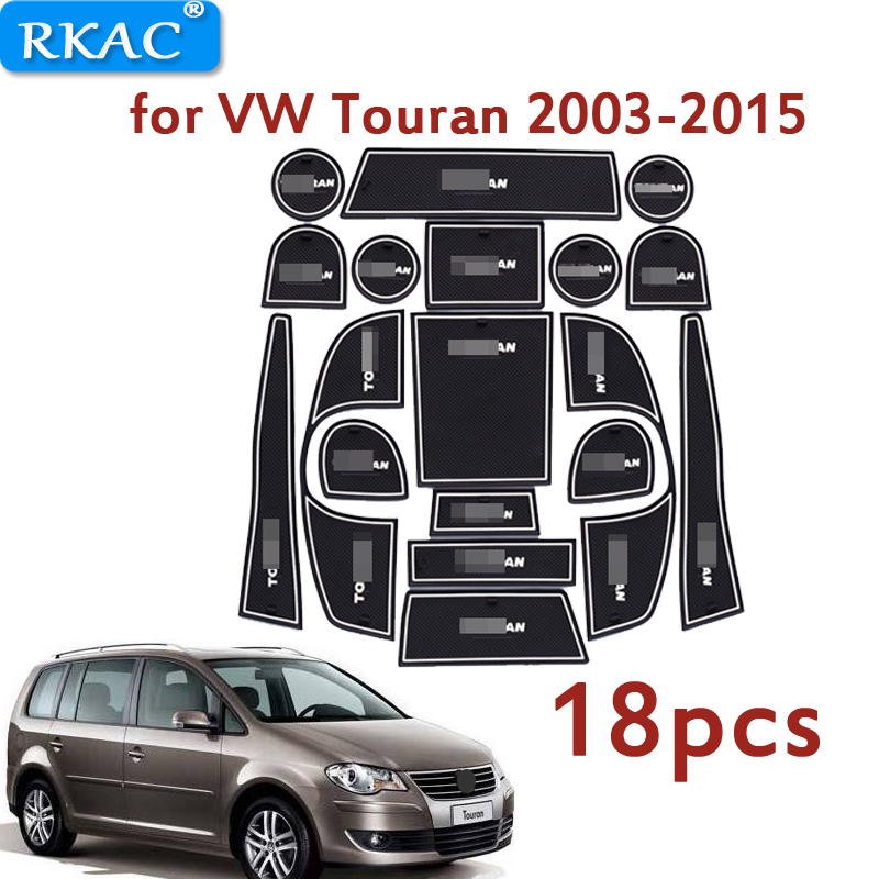 For VW Touran 2003-2015 Anti-Slip Rubber Cup Cushion Door Groove Mat 18pcs Volkswagen 2006 2010 Accessories Car Styling Sticker