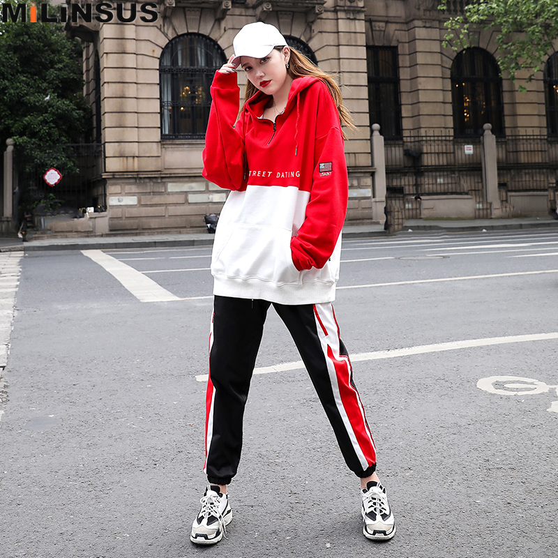Cotton Hip hop Tracksuit Women two piece sets Redwhite hooded Long Sleeve Outfits korean Sweatshirts Tops Female trousers suit