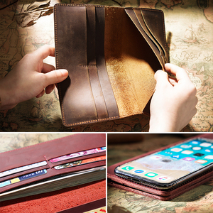 Image 3 - Moterm Crazy Horse Leather Long Wallets Genuine Leather Bifold Men Wallet Vintage Male Purse  carteira feminina Free shipping