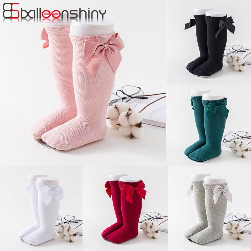 Balleenshiny New Baby Girl Kids Socks Winter Spring Cotton Newborn Baby Pantyhose Infant Toddler Knee High Bows Baby Socks