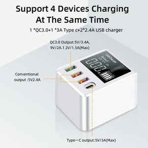 Image 4 - 30W téléphones chargeur rapide QC 3.0 Micro USB Type C adaptateur secteur affichage LED 3 Ports USB + 1 Port type c pour iPhone Android adaptateur