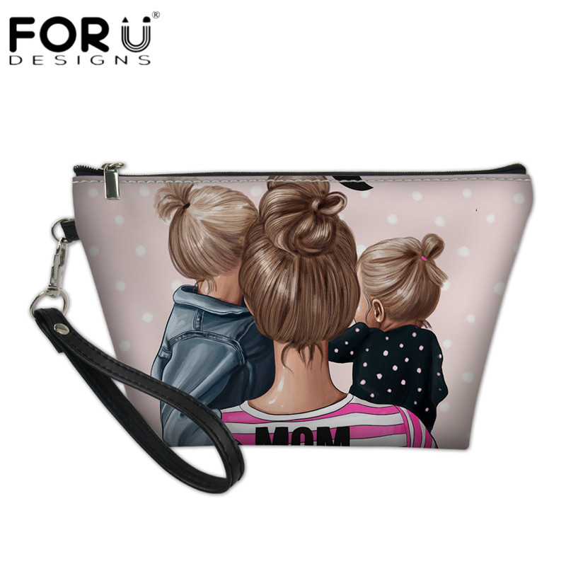 FORUDESIGNS Black Brown Hair Baby Mom Girls Print Pink Cosmetic Cases Leather Women Travel Makeup Bags Zipper Bath Organizer Bag