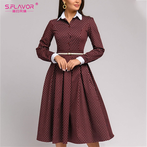 S.FLAVOR Women Autumn Elegant Print Dress No Belt Long Sleeve Turn Down Collar A Line Party Dress Winter Casual Mid Dresses