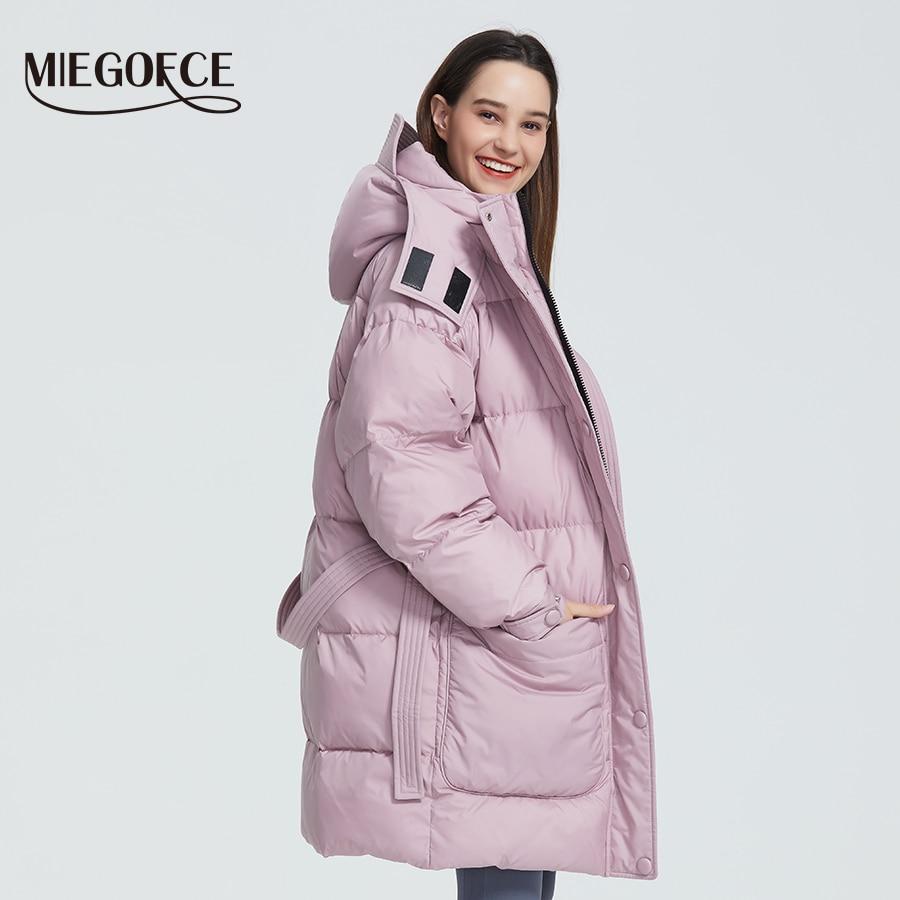 MIEGOFCE 2019 新デザイン冬コートレディースパーカー絶縁ルーズカットパッチカジュアルルーズジャケットは襟フード付き  グループ上の レディース衣服 からの パーカー の中 1