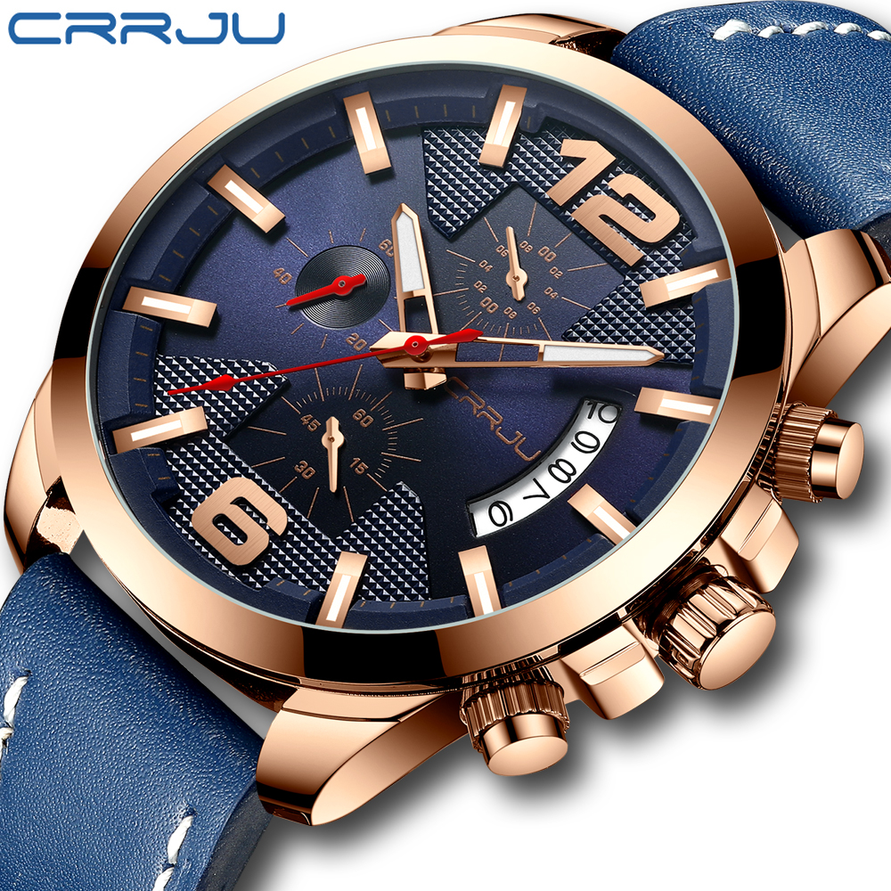 CRRJU Mens Watches Top Brand Luxury Leather Chronograph Quartz Watch Men Military Sport Waterproof Clock Watch Relogio Masculino