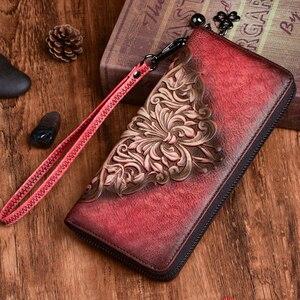 New Women Long Wallet Genuine Embossed Leather Retro Pattern Cowhide Handy Bag Multi-Cards Clutch Zipper Bags Female Wrist Purse(China)