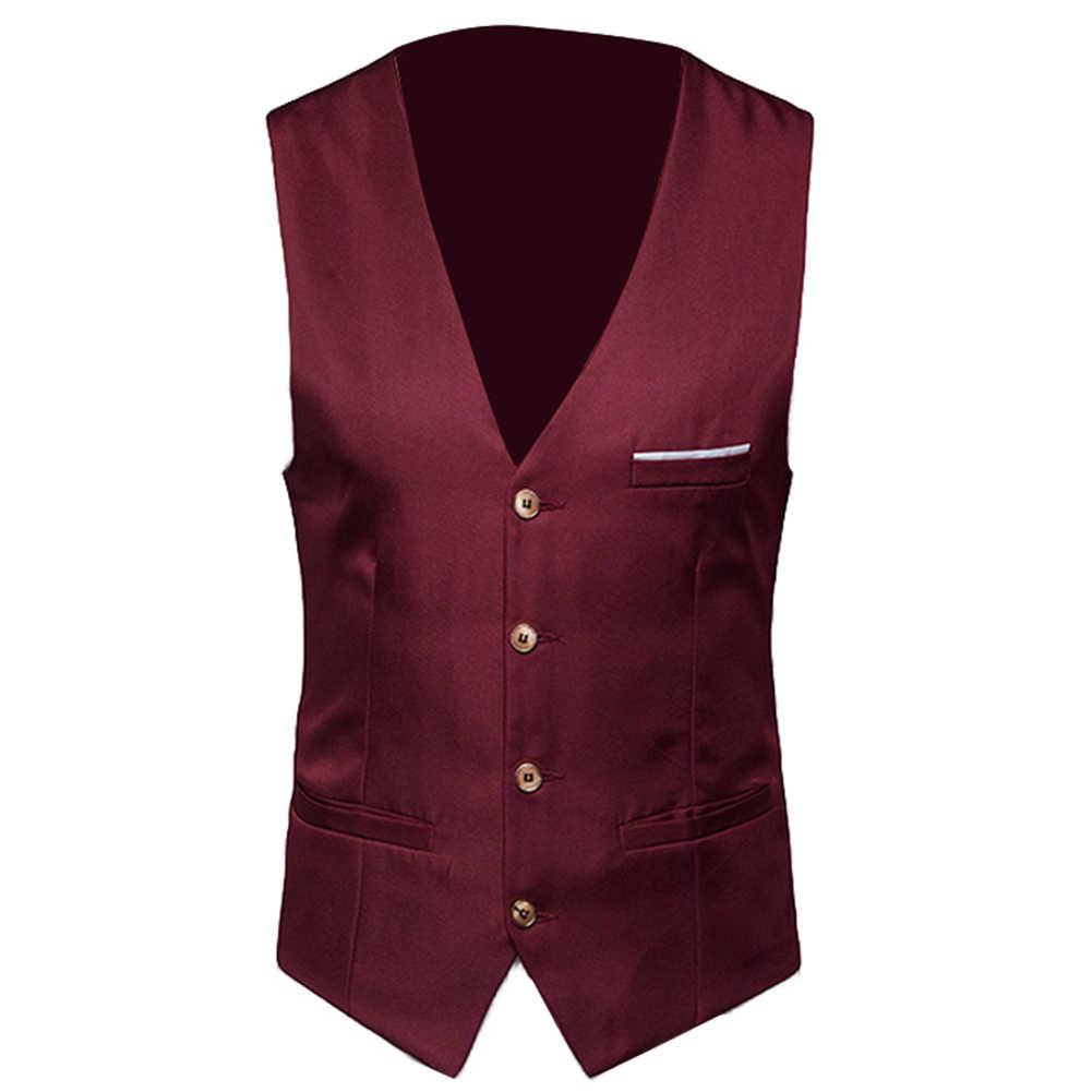 Plus rozmiar formalne męskie kamizelki solidny kolor garnitur kamizelka jednorzędowa biznesowa kamizelka kamizelka biznesowa kamizelka okazjonalna męska biznes Cas