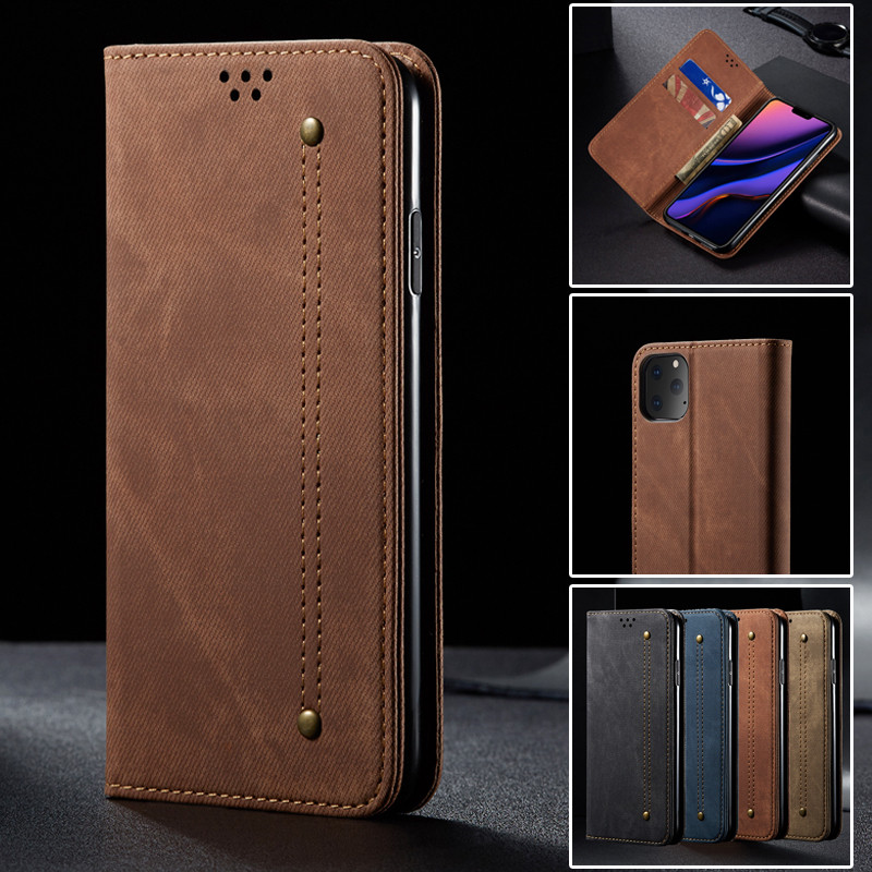 Luxury Denim Leather Flip Phone Case For Iphone 11 Pro Max X Xr Xs Max Magnetic Wallet Card Cover For Iphone 8 7 6 6s Plus Coque image