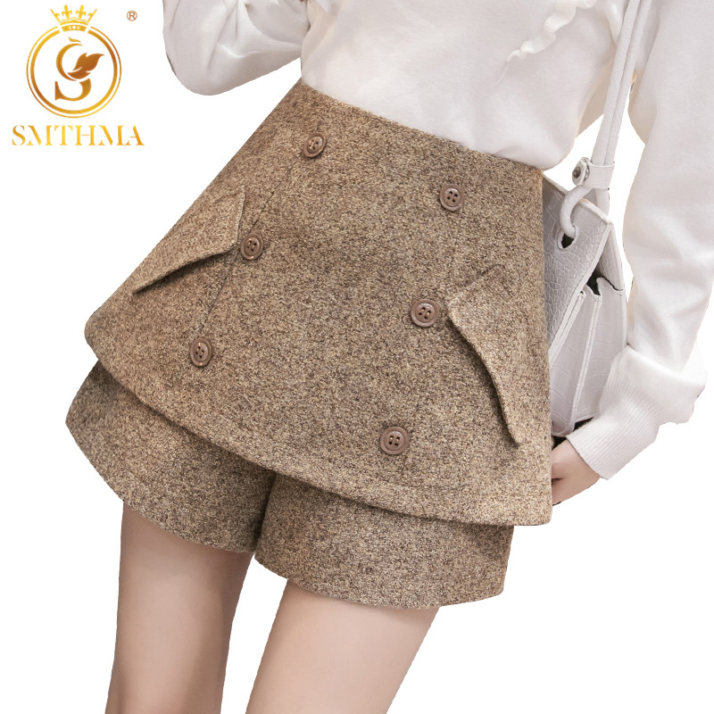SMTHMA Korean Woolen Shorts Women 2019 Winter Loose Wide Leg Shorts  Autumn And Winter Double-breasted Short S-XXL