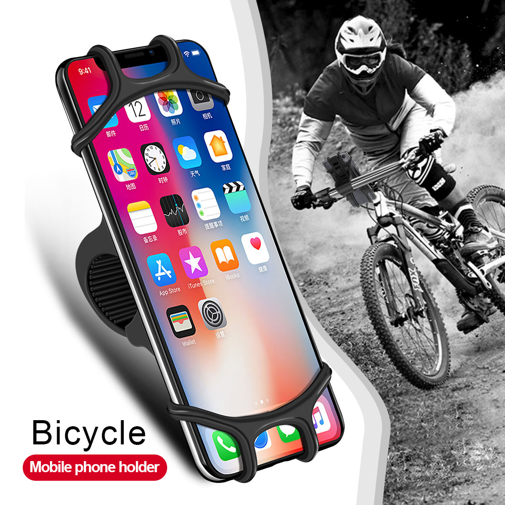 Bicycle Phone Holder for IPhone Samsung Xiaomi 9 Universal Motorcycle Phone Holder Silicone Handlebar Stand GPS Mount Clip(China)